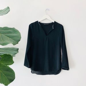 Zara blouse with v-neck leather trim detailing